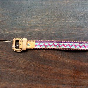 Guatemalan Leather & Cotton Embroidered Woven Belt